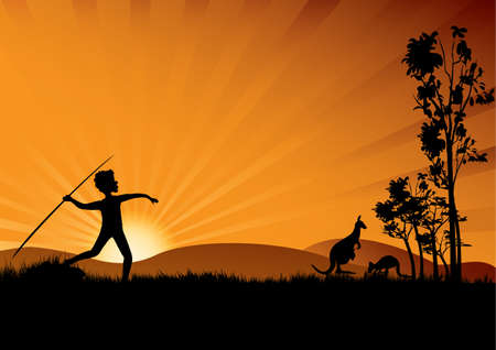 young aboriginal man hunting in the sunset Vector