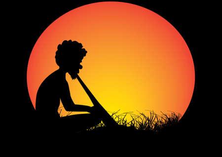 aboriginal man  sitting in the grass playing a didgeridoo  Illustration