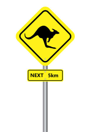 a yellow kangaroo sign on a white background Vector