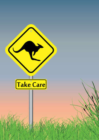 take care: a take care of kangaroo sign with grass on lower section