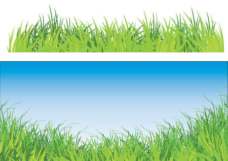 a set of two illustration of green grass one with blue sky