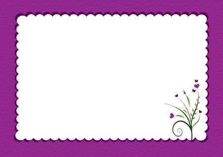 butterfly stationary: purple scalloped border with flowers used as  gift card