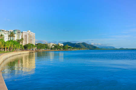 water's: view looking across the Cairns esplanade with the tide in