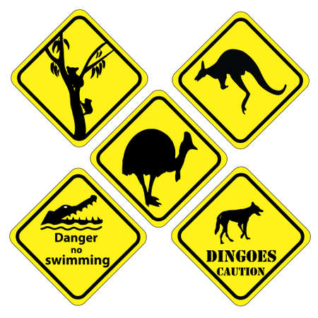 a set of signs that is found in  different parts of Australia Vector