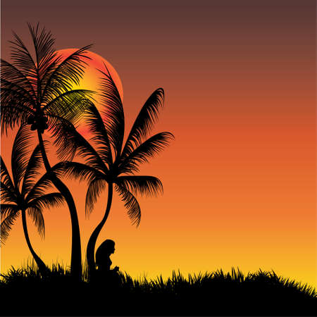 coconut tree: young lady under a coconut tree resting Illustration