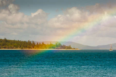 airlie: Looking at a rainbow from Tropical Daydream Island which is part of the Whitsunday Islands