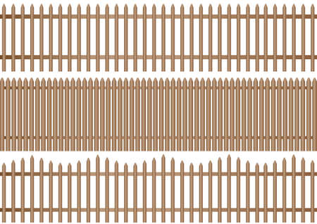 a set of three different wooden picket fence on white background Illustration