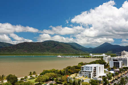 esplanade: aerial view of tropical Cairns city