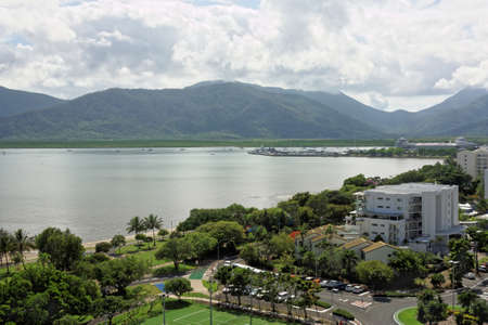 cairns: aerial view of Cairns city in tropical North Queensland