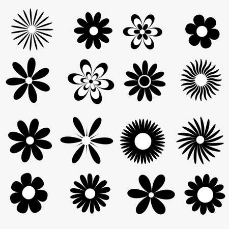 a  set of black and white flowers