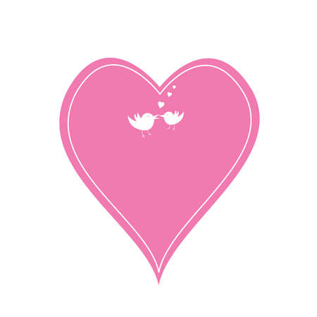pink heart: a single pink heart and love birds Illustration