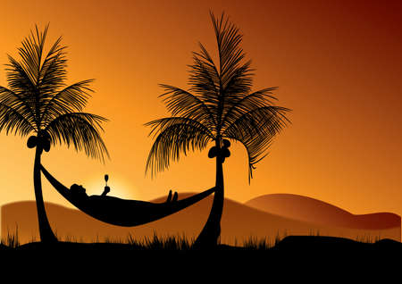 siesta: siesta time under the coconut trees in the evening sunset