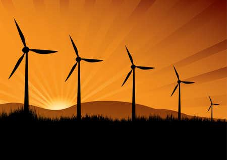environmentalist: wind turbine in the sunset with sun rays Illustration