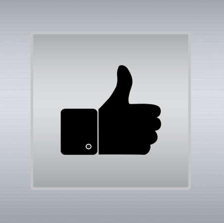 thumbs up icon: pulgares para arriba icono sobre un fondo de plata