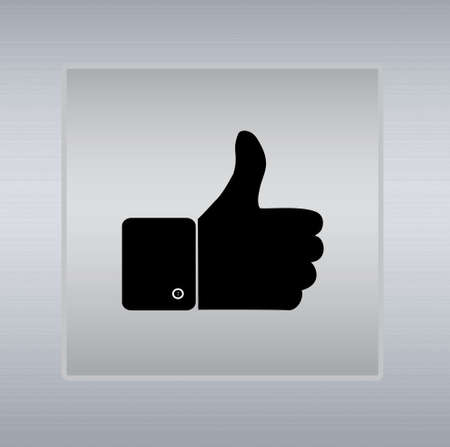 thumbs up icon: thumbs up icon on a silver background Stock Photo