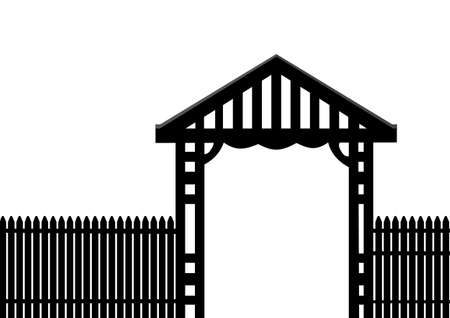archway: black picket fence on a white background Illustration