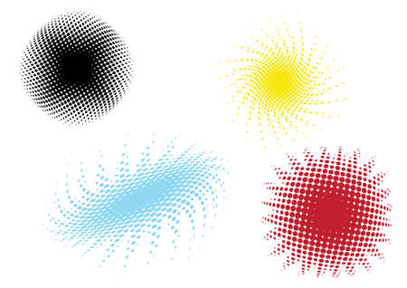 fisheye: a set of four different colored dot patterns Illustration