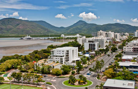 aerial view of tropical city of Cairns QLD