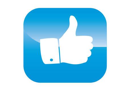 thumbs up icon: Pulgar hacia arriba icono en un fondo azul