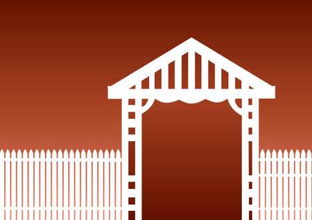 茶色の背景に白いピケット フェンス  イラスト・ベクター素材
