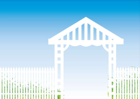 picket: white picket fence with a blue background Illustration