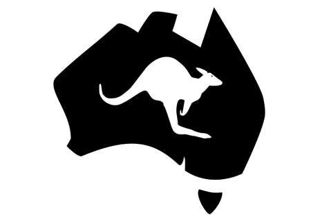 a map of Australia with a kangaroo inserted Vector