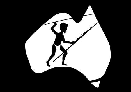 down under: map of Australian  and a aboriginal man with a spear Illustration