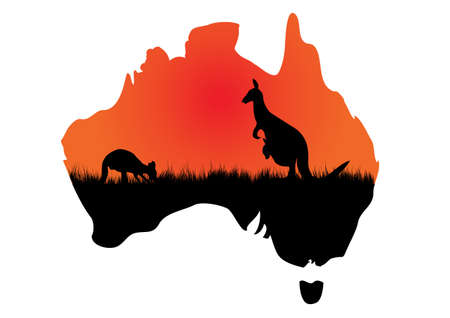 a map of Australia with a couple of kangaroos Vector