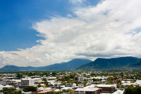 qld: Aerial view of Tropical city of Cairns Stock Photo