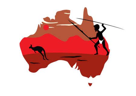 hopping: Australia map and one hopping kangaroo Stock Photo