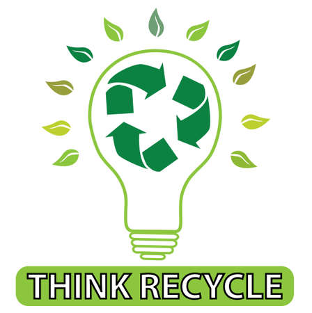 recycle icon: illustration of light bulb with recycle icon inside with leaves around