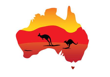 kangaroo white: Australia map and two hopping kangaroo on white background