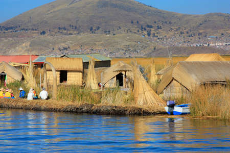 navigable: floating Uros islands on Lake Titicaca Peru which is 3800 meters above sea level, highest navigable lake in the world