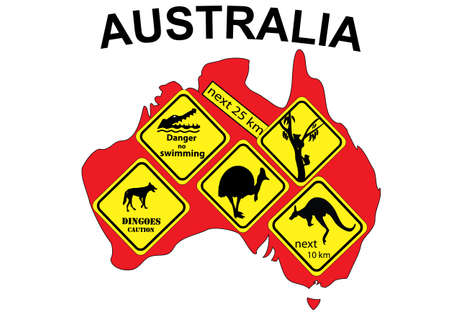 down under: Australia map with various signs inserted in the map