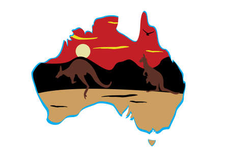 hopping: Australia map and two hopping kangaroo