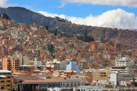 la: Background of houses in La Paz Bolivia Stock Photo