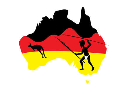 down under: map of Australia in black red and yellow with a aboriginal man with a spear Stock Photo
