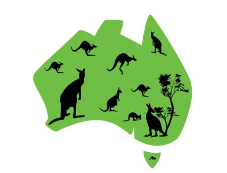 aussie: green map of Australia with lots of kangaroos