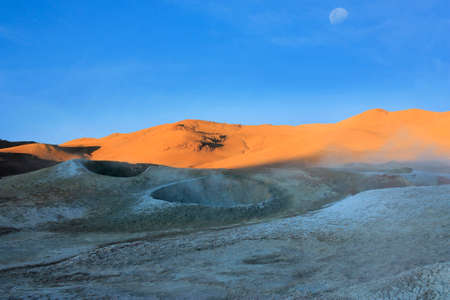 hot springs: Craters volcanic landscape in the deserts of Bolivia