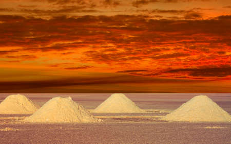 salar: Salt Lakes Bolivia in the sunset a remote place Stock Photo