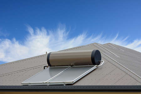 solar panels on roof to heat water from the sun