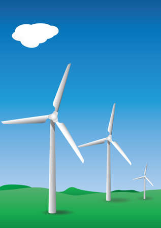 forground: three white wind turbines with sky and green hilly forground