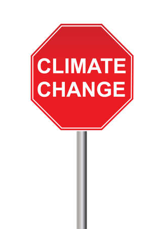 climate change: a red Climate change sign on white background Illustration