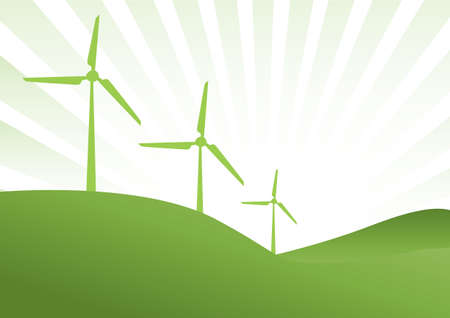 windturbine: three green wind generator with green rays as background