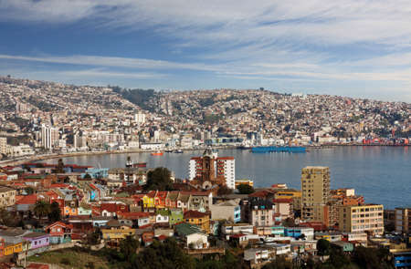aerial view of town of Valparaiso Chile South America