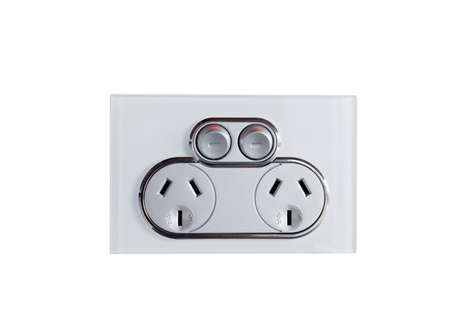 electric outlet: power point or electric outlet on white background