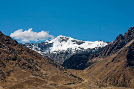 andes mountain: snowy Andes mountain in Peru from Cusco to Puno Stock Photo
