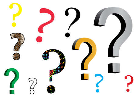 assortment: assortment of question mark icons on white background Illustration