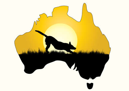 dingo: a map of Australia with dingo stretching Illustration