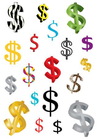 australian money: assortment of dollar icons on white background Illustration
